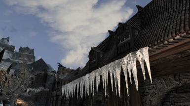 the icicles on the eaves at Windhelm