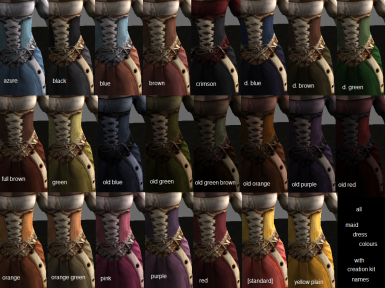 Maid Outfits Colour Reference