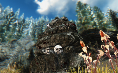 skull and stones