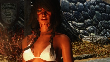 Redgard with tribal tattoos