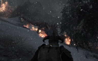fire dragon in snowed pines