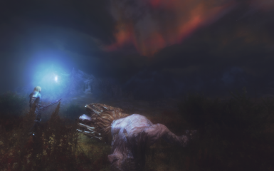giant corpse and red night sky