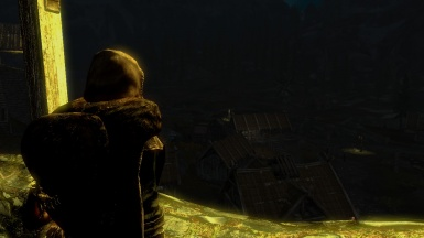 A Look out at night from the parapets outside of Whiterun