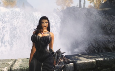 By the waterfall
