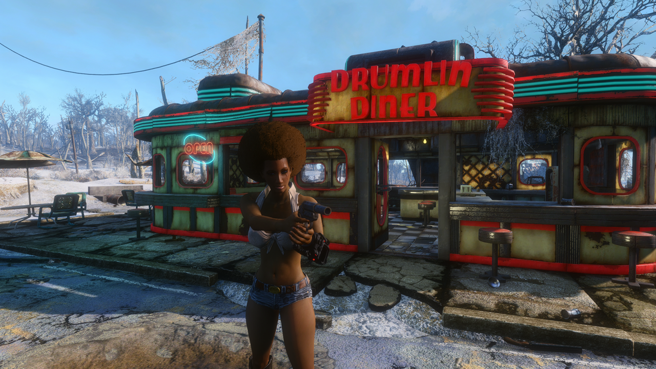 starlight drive in and diner lighting at fallout 4 nexus mods
