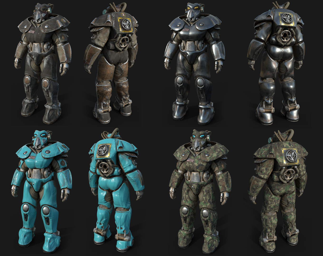 FO4] a preview of 3nikhey's Advanced Power Armour  Not too