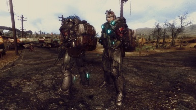 Wasteland explorers in power armor