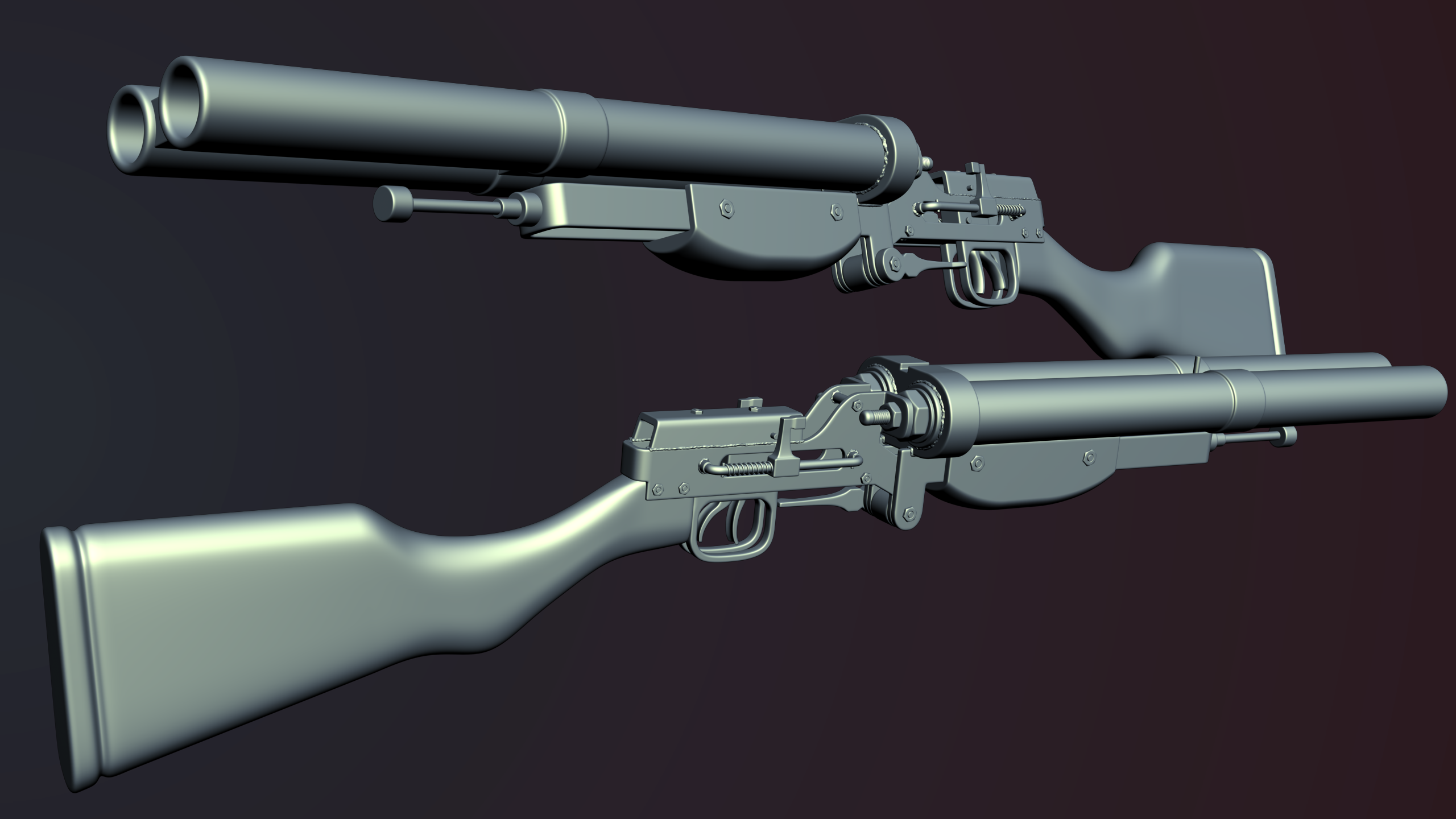 Homemade Double Barrel Shotgun highpoly finished at Fallout New