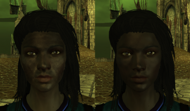 Patchy skin fix in-game comparison