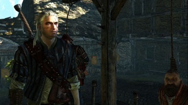Geralt trying to save Zoltan and Dandelion