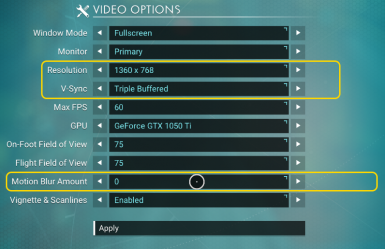 NMS Video Options