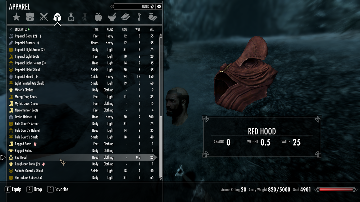 Red hood shows in inventory