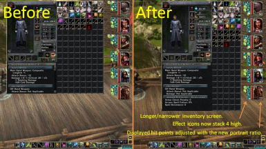 Inventory screen and party bar tweak for Tchos HD UI