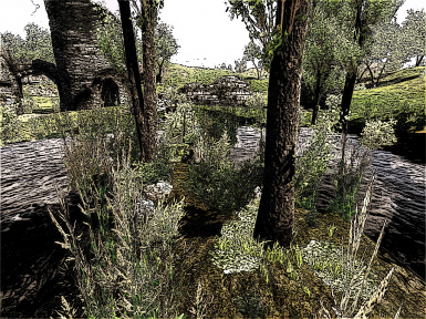Pond by the ruin