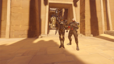 Pharah and Soldier 76 in Temple of Anubis