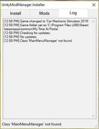 Mod Manager Error Log at My Time at Portia Nexus - Mods and Community