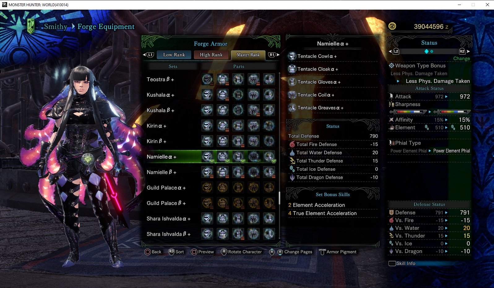 Namielle Y At Monster Hunter World Mods And Community Namielle alpha + armor set in monster hunter world (mhw) iceborne is a master rank armor set added with the expansion. namielle y at monster hunter world