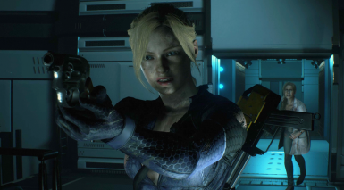 Jill Valentine Battlesuit on Claire Redfield Cutscene