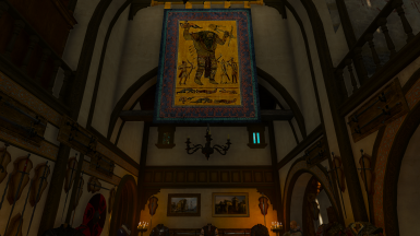 corvo bianco ice giant tapestry in middle of dining room