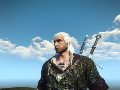 The Original Geralt of Rivia by Hiuuz with Geralt gameplay texture upscaled  by hub997
