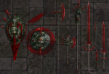 Transparent Red Glass Weapons