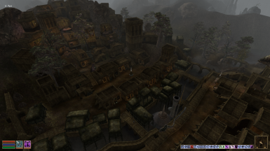 Balmora Market and Ghetto Shacks