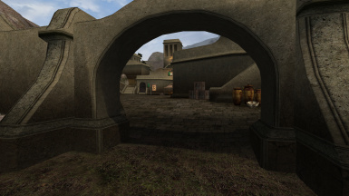 Main Gate to Balmora showing the texture blend