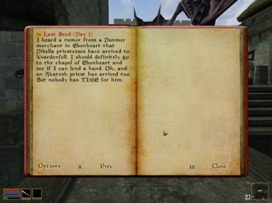 A journal update from a new quest - The Daughters of Dibella