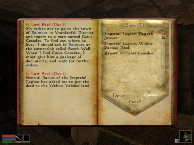 One of the journal entries of a new quest added by this mod