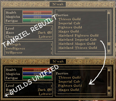 Tamriel Rebuilt Guilds Unified