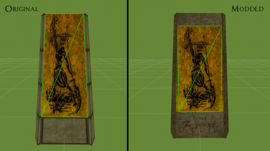 Mesh comparison (both shrines are actually of the same height) - note what happens to Felm's spear at the diagonal in the original mesh