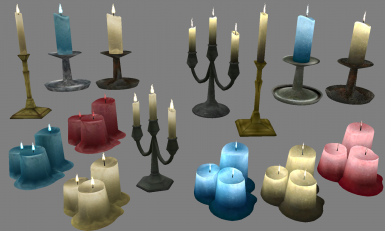 Vanilla-like lights on the left, higher poly glowing candles on the right
