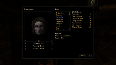 Purple eyed Dunmer from the influence of Nocturnal or maybe kinship with Barenziah (Skyrim)