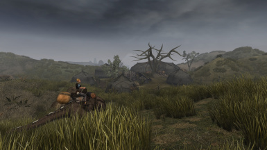 Rider coming from Vos approaching the ashlander camp nearby