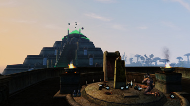 Shrine of Daring and Vivec Palace in the background