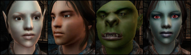 Faces of the three races and orc for version 2