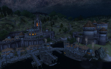 Anvil church and castle by night