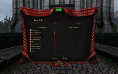 Spellmaking Menu