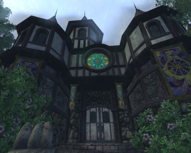 Grey Textures Pack - Mages Guild Symbol window in Cheydinhal