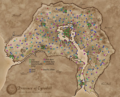 Color Map of Cyrodiil  Spoiler Release 2  Updated