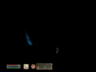 Even in darkness the water sword glows on