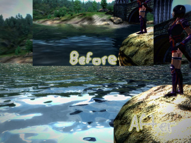 Before and After Image of Realistic Water