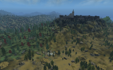 View to Kvatch with generated meshes