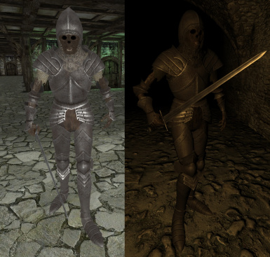 Undead knight and medieval weapons