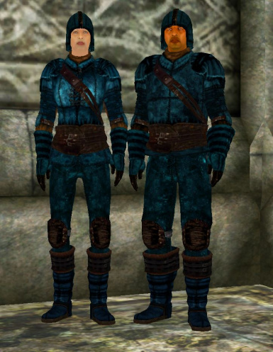 Blue Leather Full Set Male and Female