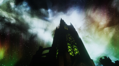 Cathedral at night with ALWS and Bruma Northern Lights