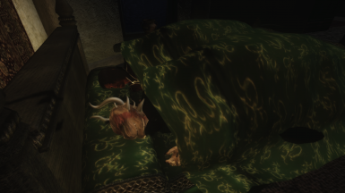 Player and NPC sharing a bed