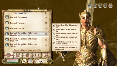 New spell info - Bound Regalia: Ethereal Gladiator