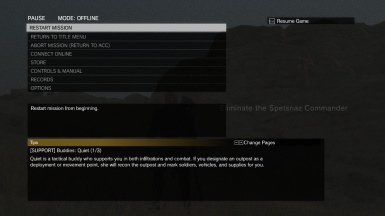 No Chekpoint Option in Pause Menu