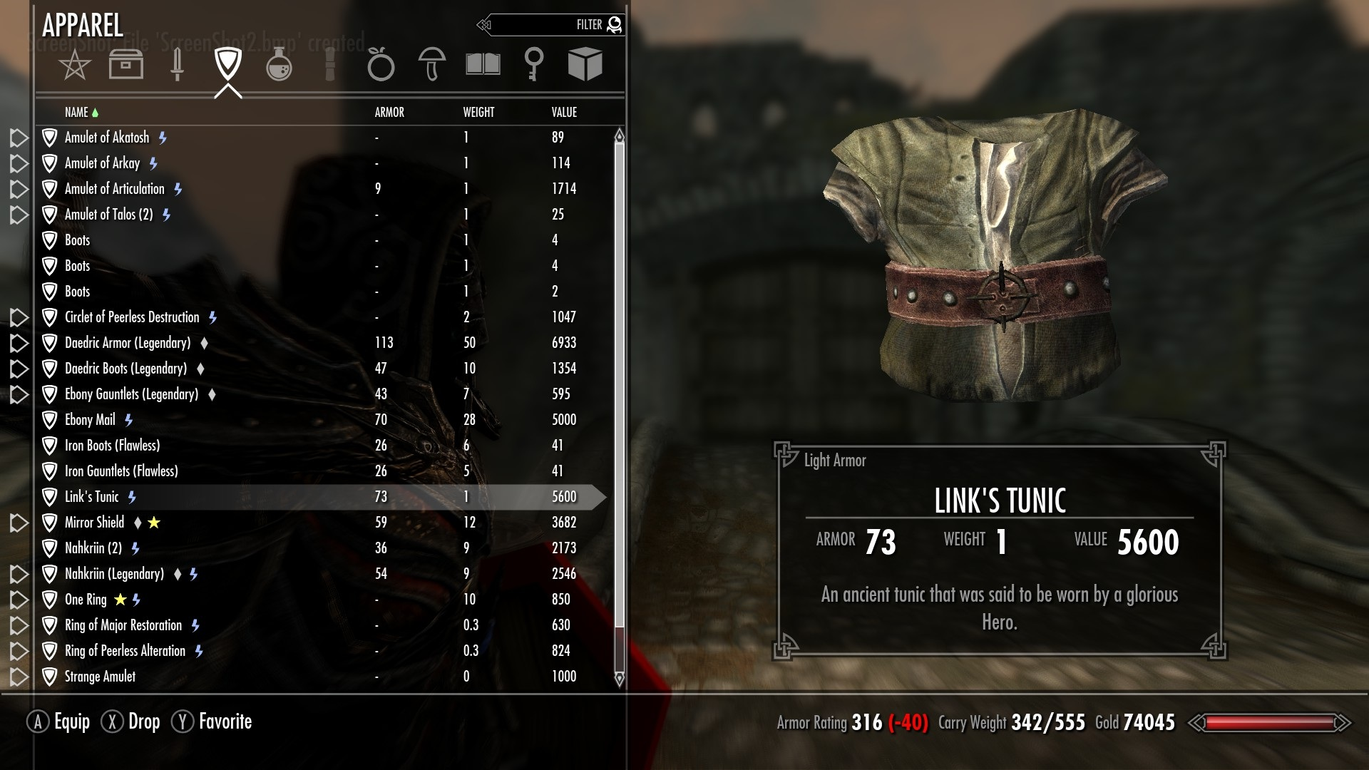 how to get links gear in skyrim